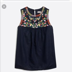 J Crew floral embroidered top